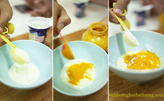 Sữa chua với tinh bột nghệ cho một làn da trắng hồng rạng rỡ