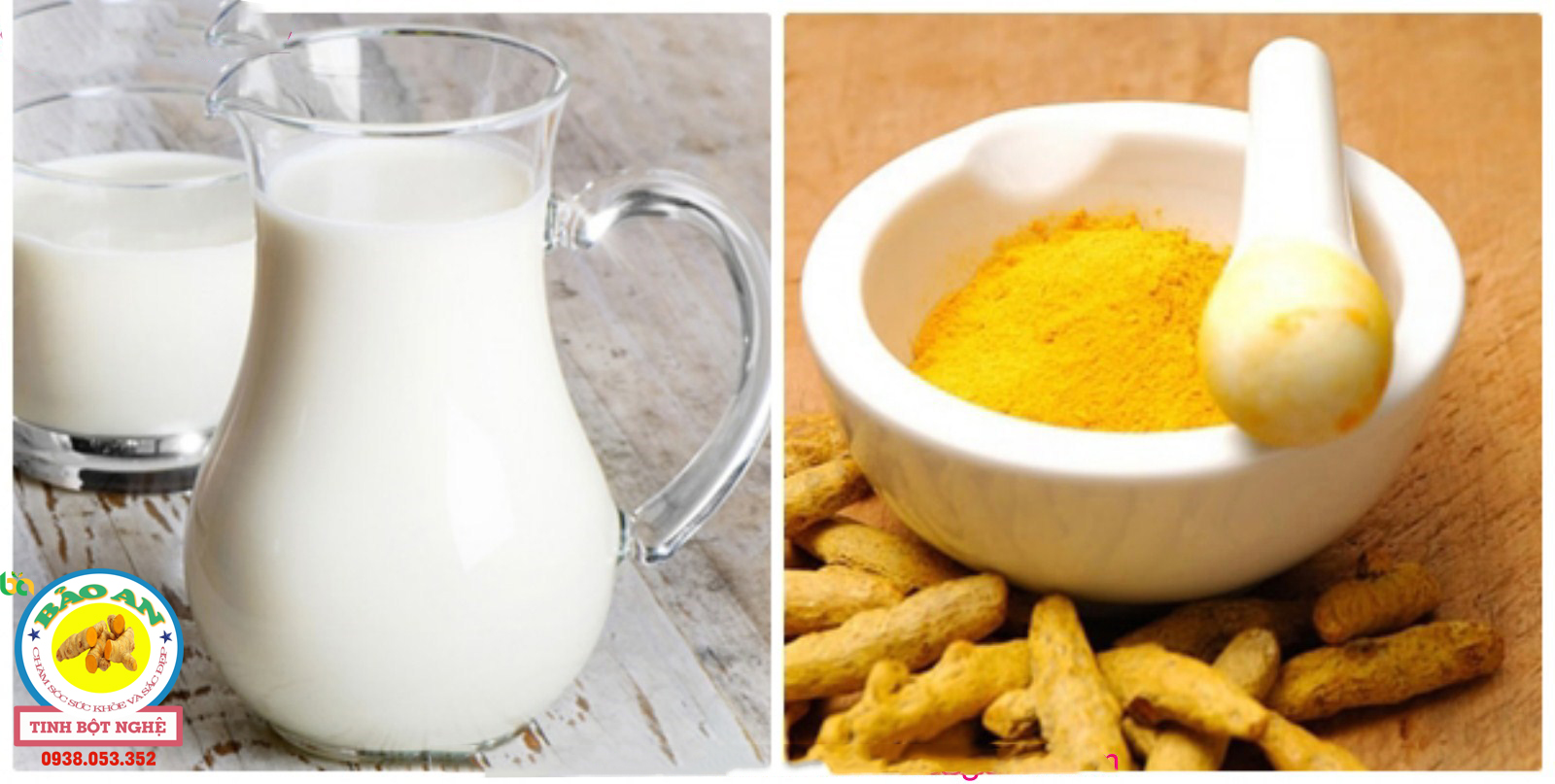 tinh bột nghệ, bột cám gạo và sữa tươi giúp trị nám
